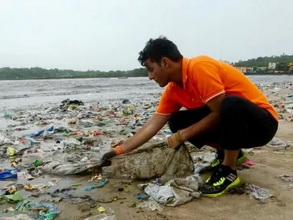 Afroz Shah cleans up at Versova Beach