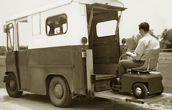 Ralph built the first wheelchair lift and installed it in an old postal Jeep.