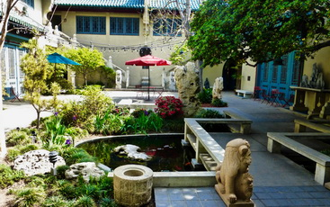 The beautiful courtyard of the Pacific Asia Museum in Pasadena