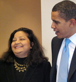 Preeta Bansal shares a laugh with Barack Obama